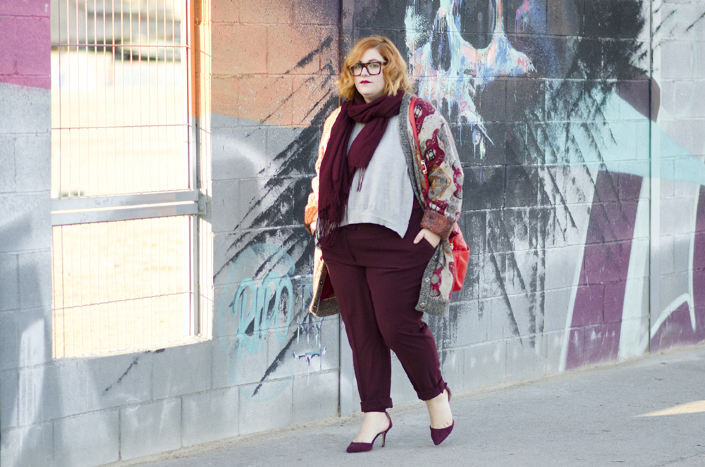 Wool print jacket and burgundy pants