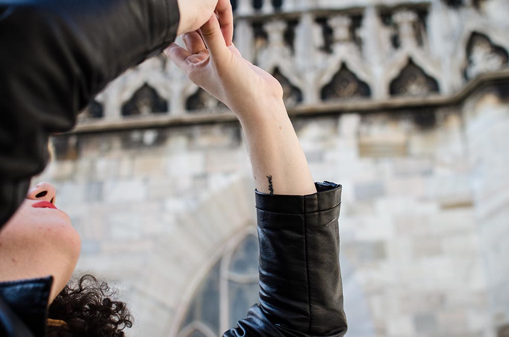 Camiseta Marinera y falda plisada en el Duomo6