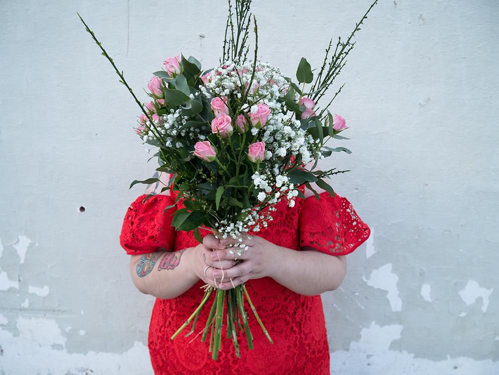 Vestido Crochet Rojo y Flores