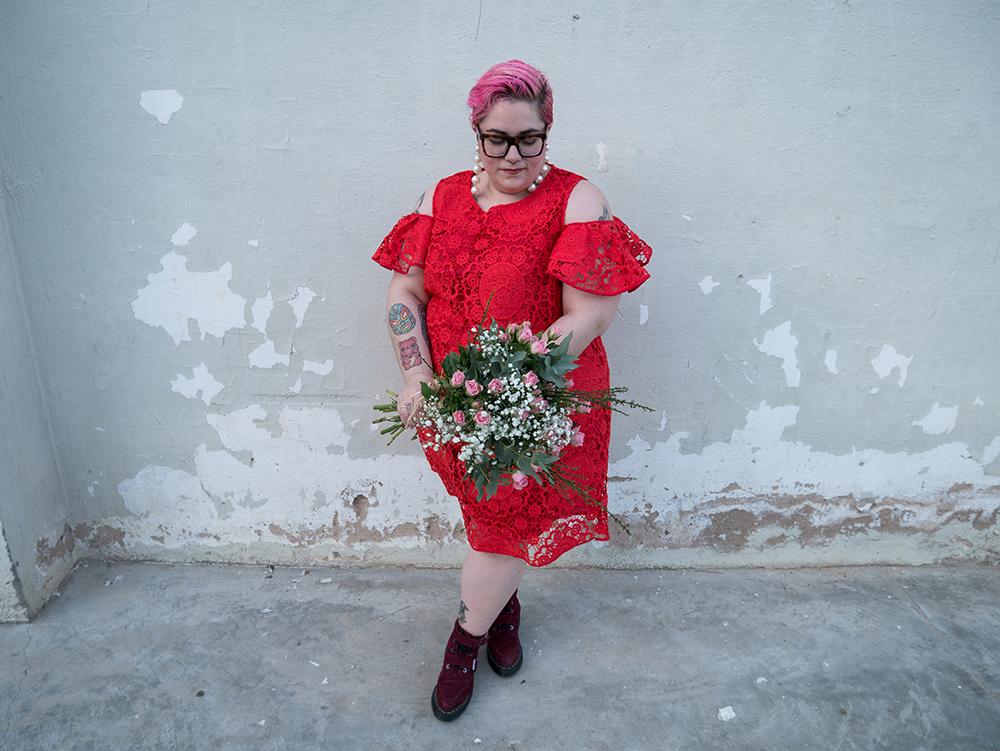 Vestido Crochet Rojo y Flores1