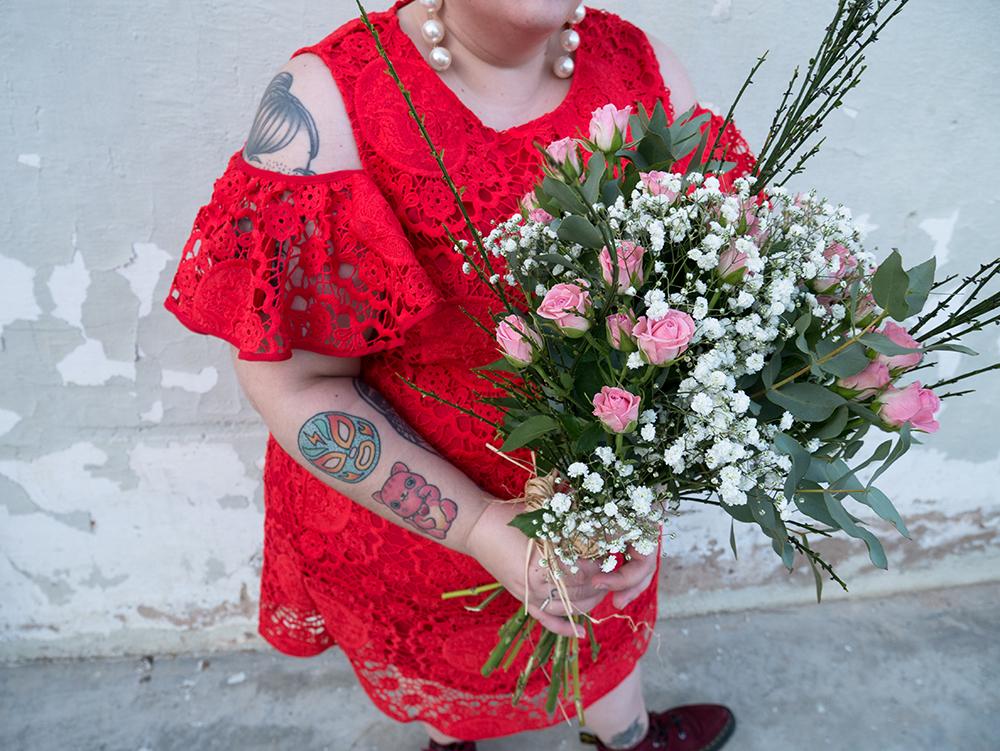 Vestido Crochet Rojo y Flores3